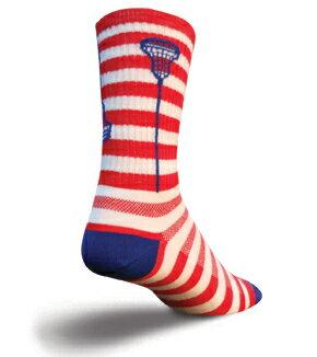 【Sock Guy】ソックガイラクロスシリーズユーエスエーグロウスティックスMade in USA赤白ストライプに青いラケットの爽やかでかわいいカラーリング。デニムや白いボトムとも好相性です。