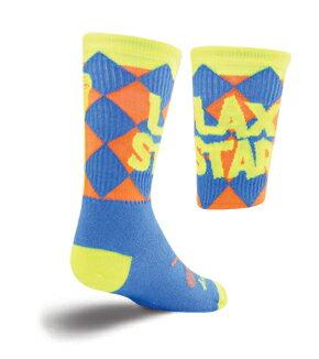【Sock Guy】ソックガイラクロスシリーズスターブルーMade in USA明るいカラーリングが印象的。ラクロス・スターの文字と、足の甲にはラケット2本がクロスしたデザイン。女性・キッズ 20-23cm