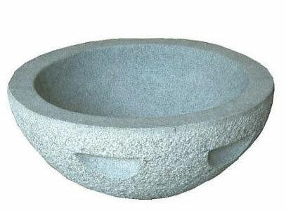 餅つき石臼 白みかげ石 (もちつき石うす) 3升用【smtb-ms】[白御影石 瀧商店]
