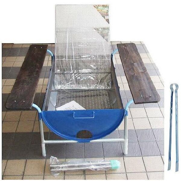 ドラム缶バーベキューコンロ Eセット(焼き網、皿置き板付、火バサミ45cm付) 【smtb…...:takisyo:10000021