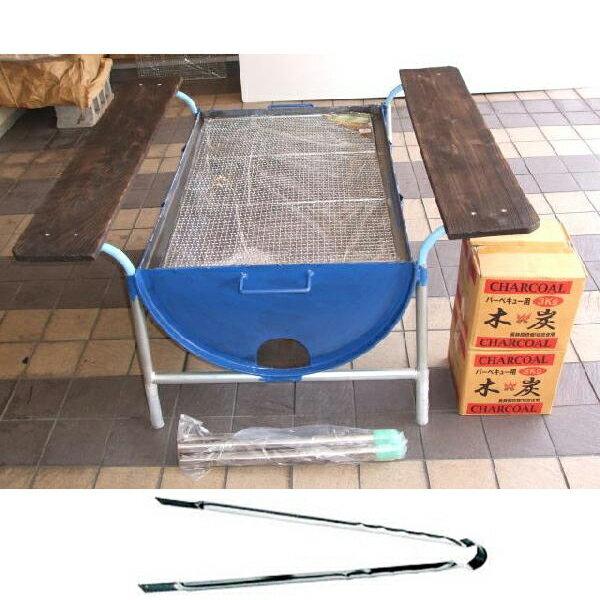 ドラム缶バーベキューコンロ Fセット(焼き網、木炭、皿置き板、火バサミ45cm付) 【sm…...:takisyo:10000022