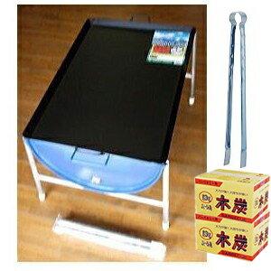 ドラム缶 バーベキューコンロ Kセット(鉄板3L、木炭、火バサミ45cm付) 【smtb-…...:takisyo:10006673