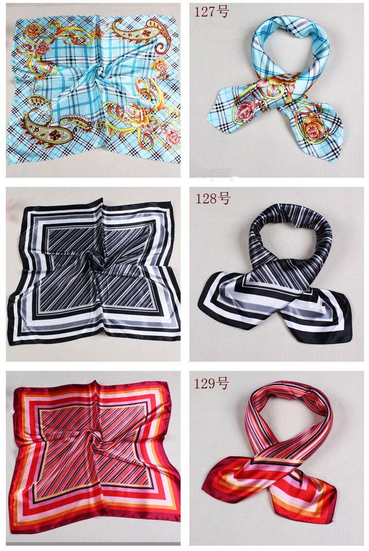 カラフル艶やかなシルク調スカーフ シルクロードの起点【西安】からの贈り物 美品激安 60角企業制服スカーフ(色番号127〜144)