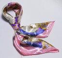 ショッピング正方形 【全色60種】 華麗な高級シルク調スカーフ 90角正方形大判レディース スカーフ 贈り物 ギフト人気な花柄 スカーフ