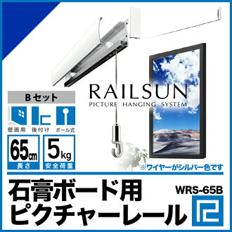 Picture rail set WRS-65B 65 cm ball ミニワイヤー freely with private or back wall only