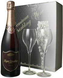 カヴァ・ロジャーグラート オリジナルロゴ入りイタリア製グラスつきギフトセット (ロゼ・ブリュット1本 ロゴ入りグラス2脚 専用ボックス) NV <ロゼ> <ワイン/スパークリング> ※通常サイズのワインがあと6本まで一緒に送れます!