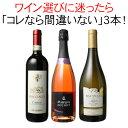 【送料無料】ワインセット 迷ったらこれ 家飲み 御祝 誕生日 結婚祝い ギフト プレゼント 赤ワイン 白ワイン スパークリング ワイン 3本 セット イタリア チリ スペイン 第62弾