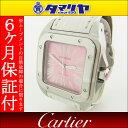 限定2000本 Cartier カルティエ サントス100 MM Ref.W20133X8 SS ステンレススチール ピンク レディース 時計 ホワイト クロコレーベルト【送料無料】【代引き手数料無料】2008年 女性 ウォッチ 腕時計 watch【中古】26100213