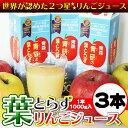 ★リンゴ ジュースランキング1位獲得★青研の葉とらずりんごジュース 1000g×3本入 葉とらず