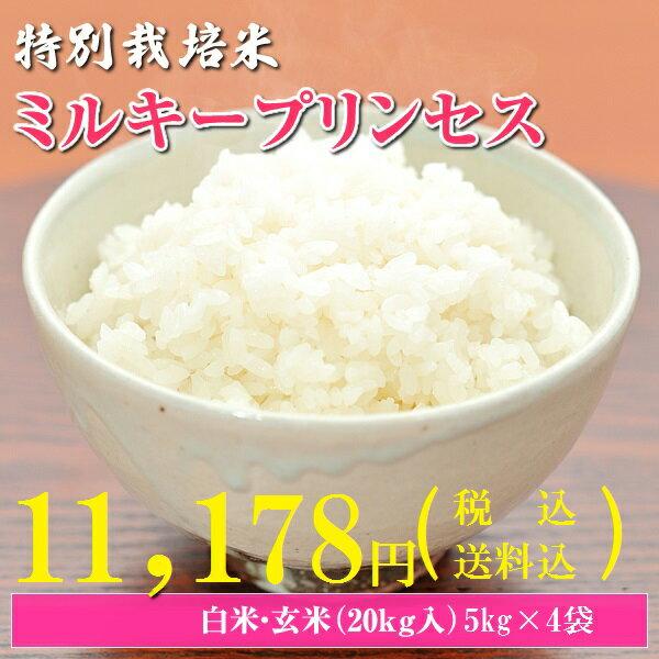 28年産 送料無料 秋田県大潟村産特別栽培米ミルキープリンセス 20kg(5kg×4袋) 精米無料 10P26Mar16
