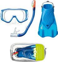 AQA スノーケリング3点セット シリコン L KZ-9209*シリコン素材+プラフィン*トラベルバッグ付き[男性向け]の画像