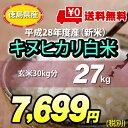 【★】平成28年度産新米 徳島県 産 キヌヒカリ 白米27kg 【送料無料!一部地域を除く】平成28年度新米 きぬひかり