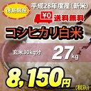 【★】白米27kg【送料無料!一部地域を除く】平成28年度産 新米