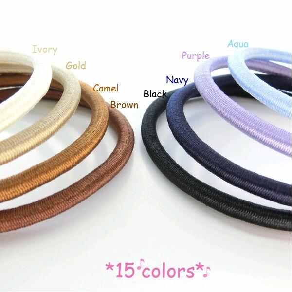 【ハンドメイドパーツ】素材カラーヘアゴム15color・ハンドメイドPartsにもOK☆