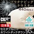 【送料無料】 日本製 CILブラックラベル プラチナビッグクラスター 440dp以上 羽毛布団 国産 ホワイトマザーダック ダウン95% かさ高180mm以上 [新技術アレルGプラス] セミダブル ロング 7年保証 羽毛掛け布団 掛布団