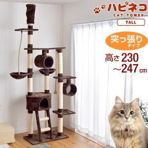 【送料無料】 キャットタワー 高さ230〜247cm 突っ張