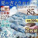 【送料無料/在庫有】日本製 羽毛肌掛け布団 二枚組 洗える ホワイトダウン 85% CILレッドラベル 消臭 抗菌【新技術アレルGプラス 気になる臭いも改善】シングル ロング 300dp以上 肌掛け