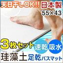 日本製 珪藻土バスマット 3枚セット シャワーで洗える サラサラ快適!天日干し可能 洗濯不要 バスマット サラサラマット 足拭きマット 速乾 お風呂 軽量 洗面所 マット