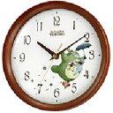 リズム時計 トトロ 掛け時計 直径20.4cm 木枠 M27(茶色半艶仕上げ) 8MGA27RH06