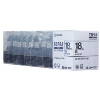 キングジム キングジム テプラPROテープ 10個パック SS18K-10P(白/黒文字 18mm幅) E179372H【納期目安:1週間】 キングジム テプラPROテープ 10個パック SS18K-10P(白/黒文字 18mm幅)