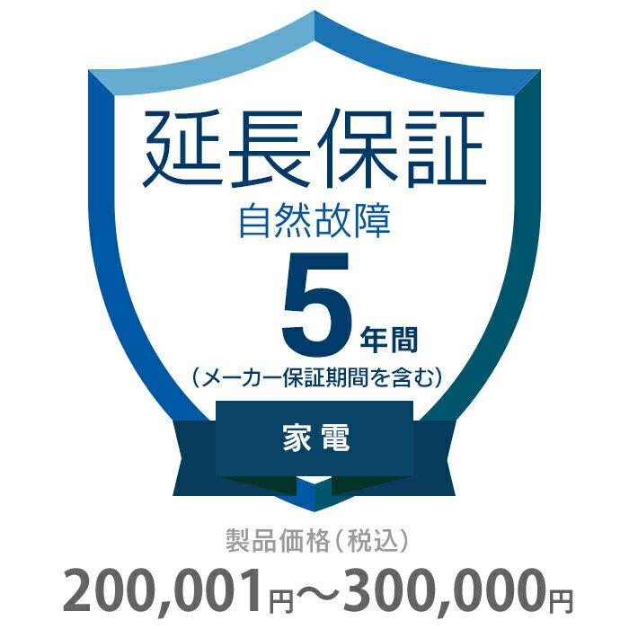 その他 5年間延長保証 自然故障 家電(エアコン・冷蔵庫以外) 200001〜300000円 K5-SK-253124