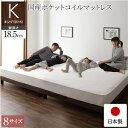 その他 ベッド 日本製 脚付き 分割 連結 ボトム 木製 モダン 組立 簡単 18.5cm 脚 通常丈 キング 国産ポケットコイルマットレス付き ds-2220126