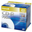 マクセル maxell データ用 CD-R 48倍速対応 インクジェットプリンター対応(ノンワイド) 700MB 5mmPケース 20枚 CDR700S.PNW.20S