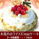 中に苺がたっぷり入っています!!2017年Xmas木苺のホワイトクリスマスケーキ14cm中にも苺たっぷり贅沢なショートケーキみたい【キャンドル・プレート・ヒイラギ付】