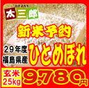 平成29年度 福島県産 ひとめぼれ 玄米25kg又は白米22.5kg 【送料無料】