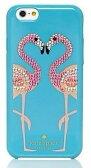 【正規品・送料無料】Katespade ケイトスペード WIRU0430 Katespade FLAMINGO iPhone6/6sPlus ケース フラミンゴ柄 ビジュ ブルー系【代引き不可】