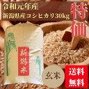 特別価格!訳あり 元年産 新潟県産コシヒカリ 玄米 30kg 一等米