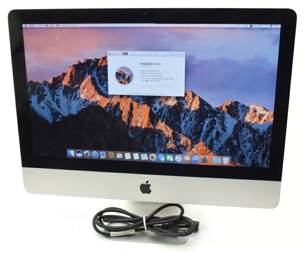 Apple iMac 21.5インチ Core i7-2600S 2.8GHz/16GB/256GB(SSD)/Radeon HD 6770M/1920x1080/macOS Sierra 10.12.1 Mid 2011 A1311 【中古】【20180605】