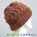 スターメで編む横太ケーブル模様の帽子 手編みキット ハマナカ・リッチモア メンズ 編み図