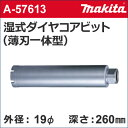 【マキタ makita】 [A-57613] 湿式 ダイヤモンドコアドリルビット (薄刃一体型) 外径:19mmφ