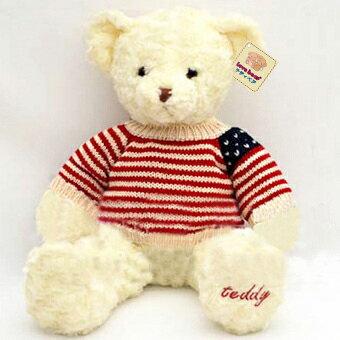 送料無料あす楽 かわいい テディベア 35cm ふわふわ 星条旗風 洋服 誕生日 クリスマ…...:teddyshop:10000012