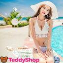 水着 レディース 2点セット ビキニ パンツ ビスチェ 韓国 ファッション SHEBEACH 正規品 セクシー キュート ガーリー かわいい レース ホルターネック おしゃれ 大人 女の子 白 ホワイト クロシェ編みデザイン 極厚パッド付き バスト 盛れる 胸元 セクシー