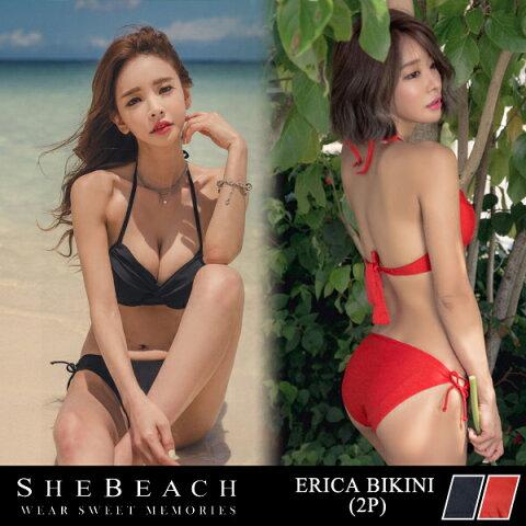 水着 レディース ビキニ ブラ パンツ 2点 セット 海外 韓国ブランド SHEBEACH 正規品 ERICA BIKINI (2P) シービーチ シンプル 無地 クロスデザイン セクシー おしゃれ ワイヤー入り ホルターネック パッド付き 追加可能 長さ調節可能 女の子 大人 女性用 かわいい