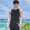 ラッシュガード メンズ タンクトップ ノースリーブ フィットネス水着 ビーチファッション トレーニングウェア 日焼け対策 韓国 SHEBEAC..