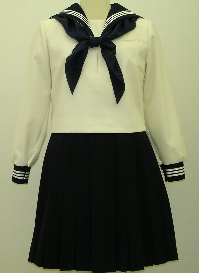 W26アイボリー色紺衿・カフス胸当付き白3本線セーラー服