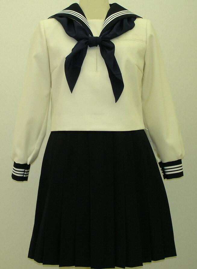W26Bigアイボリー色紺衿・カフス胸当付き白3本線セーラー服 BIGサイズ