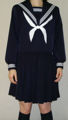 W21big衿深め 紺セーラー服ビッグサイズ衿・袖・胸当て 白3本線