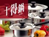 热门沸腾锅置Miyaco获得(有限的,得到10盆)(16.18.20厘米saucepot盖处理相结合,一方面,10年保); smtb - S的;[Miyaco 十得鍋セット(10得鍋) JN-3ST (ソースポット16・18・20cm、兼用蓋、片手ハンドル、専用レシ