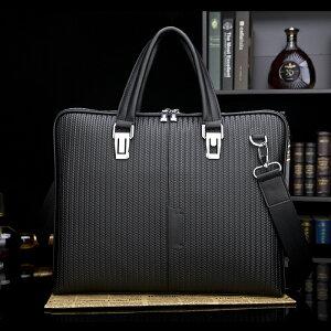 天然本革メンズハンドバッグハンド鞄A4サイズメッシュ調型押し通勤ショルダー