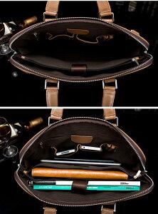 新品100%天然本革牛革メンズレザーショルダーバッグ斜め掛け鞄IPAD収納通勤P27Mar15