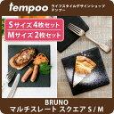 BRUNO マルチスレート スクエア S/M 【 ブルーノ スレート プレート お皿 粘板岩 石 天