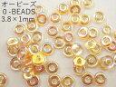 【オービーズ/o-beads】クリスタルイエローレインボー:直径3.8×1ミリ/2.5g(約70-75ヶ)【メール便OK】