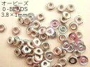 【オービーズ/o-beads】クリスタルシルバーレインボー:直径3.8×1ミリ/2.5g(約70-75ヶ)【メール便OK】