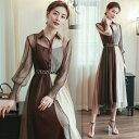ロング ドレス ビショップスリーブ シフォン ベルト 長袖 襟付き シャツ ボタン 上品 大人 20代 30代 40代 ブラウン 茶 白