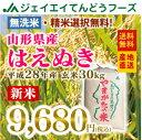【新米】28年産 山形県産はえぬき玄米30kg 送料無料※一部地域は別途送料