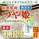 【新米予約】 28年産 山形県産つや姫無洗米20kg(5kg×4) 送料無料※一部地域は別途送料追加